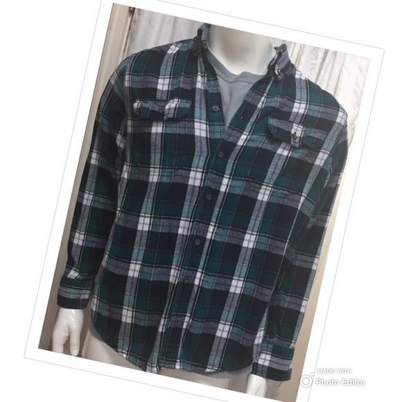 Faded Glory Other - MENS FLANNEL COTTON PLAID SHIRT LONG SLEEVE BUTTON